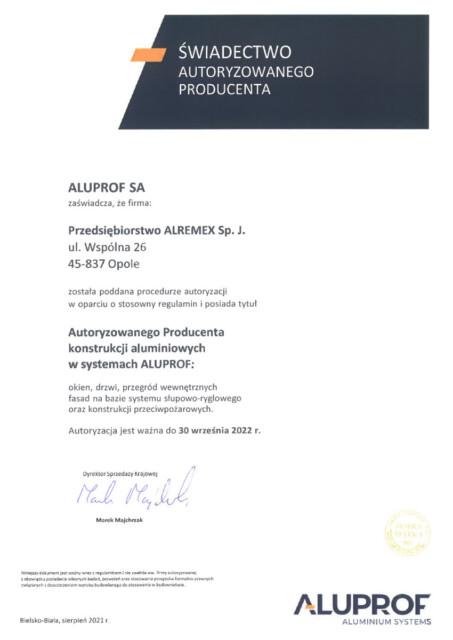 Świadectwo Autoryzowanego Producenta w systemach Aluprof 2021