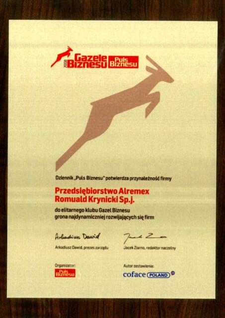 Certyfikat Gazele Biznesu 2008